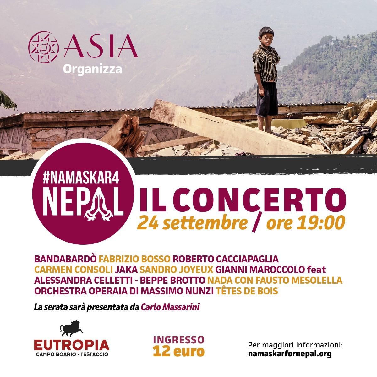 Asia organizza il concerto #namaskar4nepal